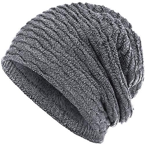 Compagno Wintermütze warm gefütterte Mütze sportlich-elegantes Wabenmuster mit weichem Fleece-Futter Beanie meliert, Farbe:Hellgrau meliert