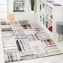 alfombra nmada de diseo moderna con cuadros y lneas multicolor crema