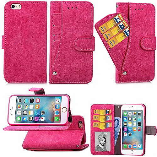 Embossed Blumen Retro Folio Premium PU Ledertasche Magnetverschluss Wallet Stand Stil Handschlaufe Case Cover für iPhone6 ​​6s ( Color : Purple , Size : IPhone 6s ) Rose