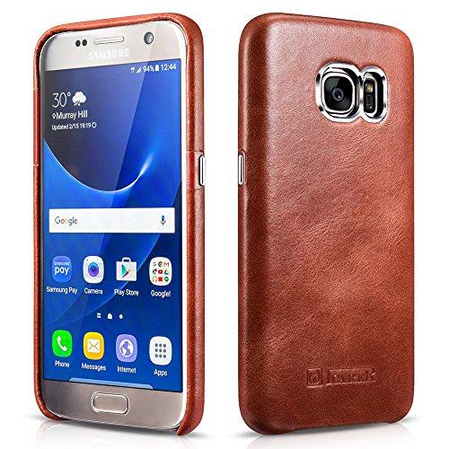Galleria fotografica Custodia Galaxy S7, ICARER Ultra Sottile Leggero Protettiva Cover Custodia in Pelle Back Cover Case per Samsung Galaxy S7 5,1 Pollice (Marrone)