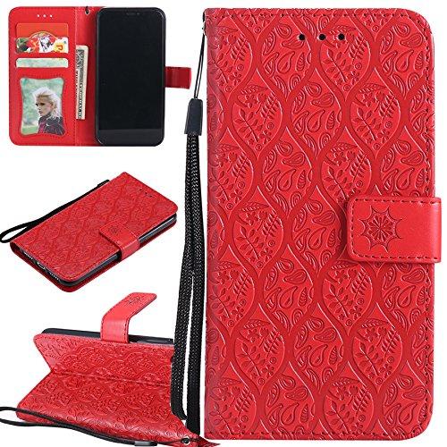 Ooboom Huawei Y5 Prime 2018 Hülle Blätter Muster Magnetisch Flip Folio PU Leder Schutzhülle Handy Tasche Case Cover Standfunktion mit Kartenschlitz für Huawei Y5 Prime 2018 - Rot