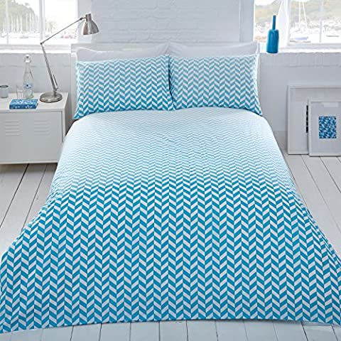 Pieridae Aqua Ombre Geo Duvet Quilt Cover Pillowcase Set Reversible Single Double King Chevron (Double) by Pieridae
