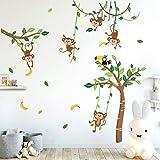 Runtoo Sticker Muraux Singe Arbres Autocollant Mural Animaux Jungle Amovible Deco Stickers Chambre Enfant Bébé Salon Decorati