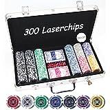 Premium POKERKOFFER CASINO-QUALITÄT mit 300 Laser Chips und Zubehör Alu