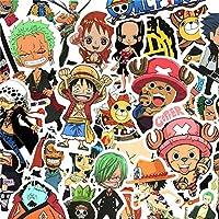 One Piece Anime Stickers for Laptop Stickers Japanese Cartoon Pirate Luffy Vinyl Decal for Water Bottle Skateboard Travel Case Bike Door Car Guitar Decor DIY 50 Pack Waterproof Stickers Teens Kids