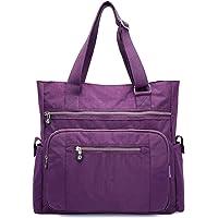 Nawoshow - Borsa da donna in tela impermeabile in nylon, multi tasche, borsa da lavoro, borsa per insegnanti e borse