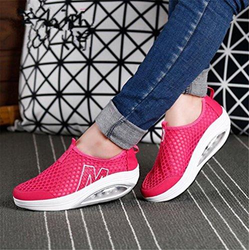 LDMB Frauen-Wedge-Ferse Breathable Net Garn ComfortableSleeves Schütteln Schuhe Outdoor Sport Casual Schuhe Frühling Herbst 1579-1 red