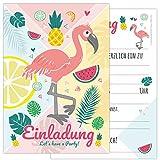 12-er Kartenset FLAMINGO mit einem Flamingo und süßen Früchten in sommerlichen Farben, Kindergeburtstag-Einladungskarten für die Geburtstags-Party in rosa und zartem pastel für Mädchen und Jungs