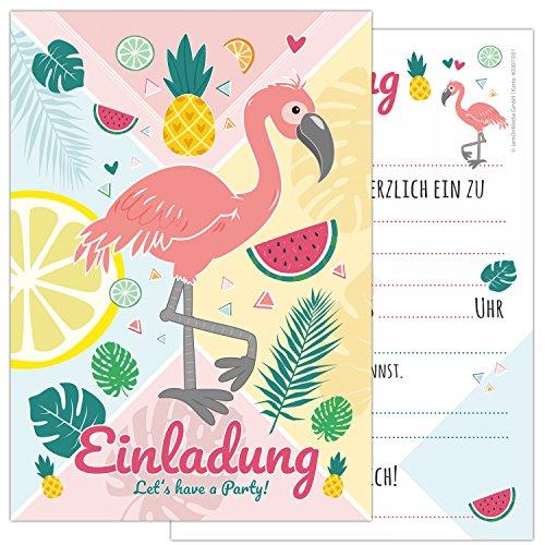 INGO mit einem Flamingo und süßen Früchten in sommerlichen Farben, Kindergeburtstag-Einladungskarten für die Geburtstags-Party in rosa und zartem pastel für Mädchen und Jungs ()