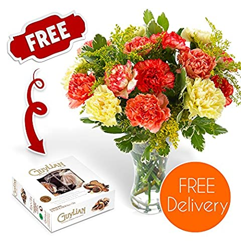 Fresh Flowers Delivered - Free UK Delivery - Luxury Carnation Bouquet with Free Chocolates, Flower Food and Bonus Ebook Guide - Perfect For Birthday, Anniversary and Thank You Gifts