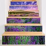 Frolahouse 3D Schöne Lavendel Diy Wasserdichte Treppen Aufkleber, Fliesen Schlafzimmer Wohnzimmer Home Kreative Dekorative Wandaufkleber, Abnehmbare Treppenhaus Aufkleber Einfach Zu Tragen Gerade Peel Und Stick (6 stück)