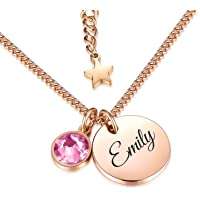 TMT® Personalised birthstone necklace with gift box engraved for Daughter Mum Best Friend Girlfriend Birthday 18th 21th…