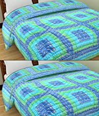 GRJ India Cotton Light Weight Reversible Jaipuri Single Bed Quilt (Multicolour, 58 x 88inch) - Set of 2