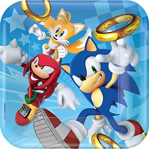 Fancy Me Mädchen Jungen Geburtstagsfeier Sonic The Hedgehog Knuckles Tails Retro Feier Papier Geschirr Dekorationen Zubehör (Platten)