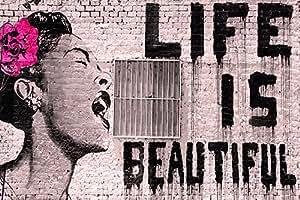 """Grande Affiche de Banksy Life is Beautiful """"La Vie est Belle"""" PAPIER Poster Dimensions 91.5 x 61cm (36x24inch) environ"""