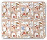 Joyce Gaming Mouse Pad Custom,Cartoon musician cute cat drum accordion guitar music mouse pad,Mouse pad size:9.25 X 7.75 Inch