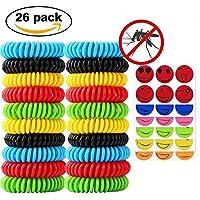 NiceButy 20pcs Bracelets anti-moustique avec 6pcs Autocollants anti-moustique Naturels Huiles essentielles - Ne contient pas de DEET - Résiste à l'eau - Aléatoire