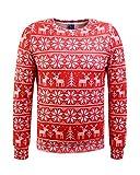 Honeystore Unisex Weihnachtsshirt Christmas 3D Druck Sweatshirt Casual Langarm Rundhals Pullover Drucken Weihnachten T-Shirts mit 3D Druckmuster Davidshirsch Rot XXL