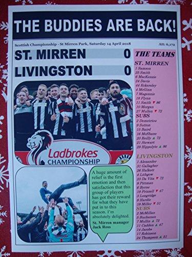 St Mirren 0 Livingston 0-2018 - St. Mirren Promoted - Souvenirdruck (Buddy Kühlschrank)
