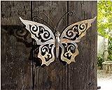 bb10 Schmuck Gartendeko aus Metall Schmetterling aus Metall mit filigran ausgestanzten Rankenmuster und Leichter Patina 60 cm groß Außendeko aus Metall Deko-Schmetterling für den Außenbereich