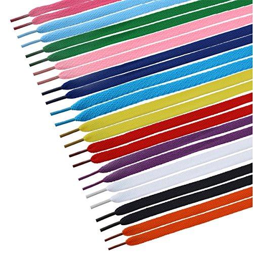 TINKSKY 12 Paia Lacci delle Scarpe Piatto per Bambini Adulti Sneakers colori misti