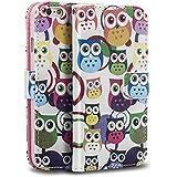 Sofort lieferbar tinxi® PU Kunst Leder Tasche für Apple iPhone 6 / 6s (4.7 zoll) Schutzhülle Tasche Flipcase Case Schale Hülle Cover Standfunktion mit Karten Slot viele Eulen Owls in weiß