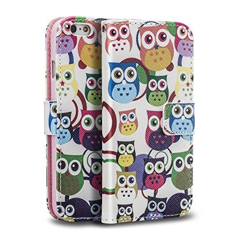 Sofort lieferbar tinxi® PU Kunst Leder Tasche für Apple iPhone 6 / 6s (4.7 zoll) Schutzhülle Tasche Flipcase Case Schale Hülle Cover Standfunktion mit Karten Slot viele Eulen Owls in weiß viele Eulen Owls in weiß