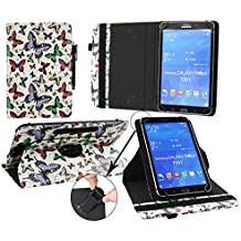 Emartbuy® Teclast X80HD 8 Pulgada Windows Tablet PC Universal ( 7 - 8 Pulgada ) Multi Coloured Mariposas 360 Grados Soporte Giratorio Folio Carcasa Wallet Case + Negro Lápiz Óptico