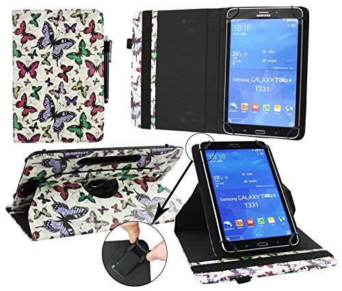 Emartbuy® Blaupunkt Polaris QC Tablet 7.85 Zoll Universal (7-8 Zoll) Multi-farbigeSchmetterlinge 360GradrotierendeStandFolioGeldbörseTascheHülle + Schwarz Eingabestift