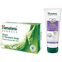 Himalaya Herbals Neem and Turmeric Soap, 125gm (Pack of 4) with Value Pack Save Rs.20 & Himalaya Baby Cream, 200ml