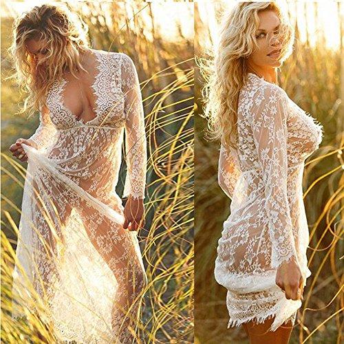 Imixcity Sexy Femme Deep V-cou à Manches Longues en Dentelle Robe See-through Plage Nuit Robe Longue Bikini Cover Photographie Props Blanc