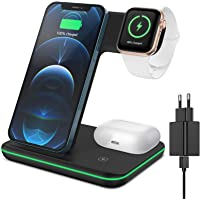 XIMU Kabelloses Ladegerät, 3 in 1 Wireless Charger Schnell Ladestation mit Adapter Kompatibel mit iPhone 12/11 Pro Max…