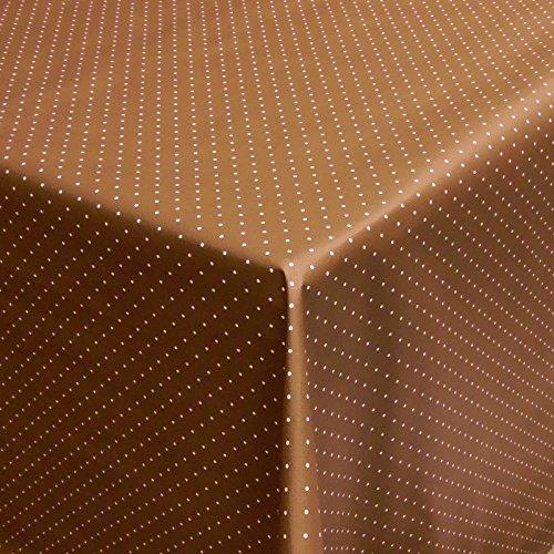 Wachstuch | Tischdecke abwaschbar Biertischdecke mit Fleecerücken 200 cm x 140 cm (Braun Punkte)