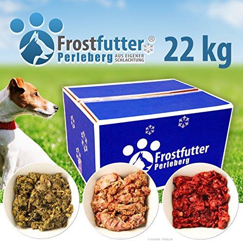 Frostfutter Perleberg Barf Starter Paket 22 Kg inklusive Grüner Pansen, Blättermagen, Huhn (gewolft), Gulasch (Rind), Herz gewolft und vieles mehr