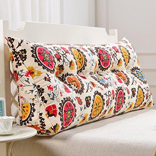uus Flower Pattern Triangle Sofa Coussin Coussin de tête de lit Design Ergonomique Coussin lavable avec 3D High-élastique de coton perle remplissage différentes tailles pour votre choix ( taille : 135cm (4 Buttons) )