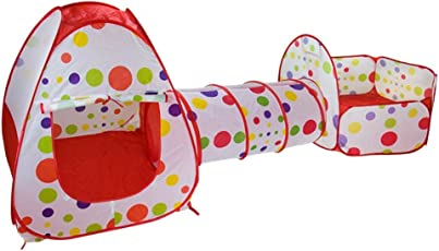 Toyshine 3-in-1 Foldable Tunnel Ball Pool Outdoor Tent House, (Balls not Included, Multicolour)