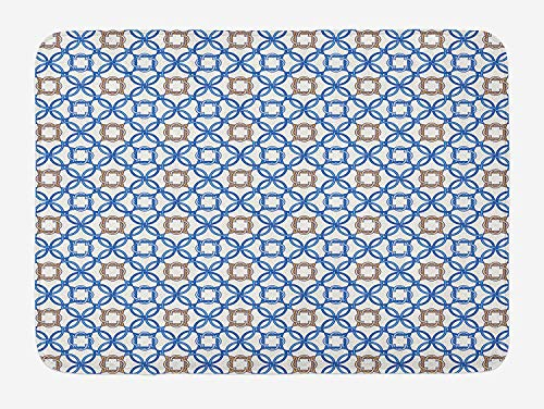 dutch tub Quatrefoil Bath Mat, Ancient Delft Blue Inspired Pattern Intricate Old Dutch Tile Motifs, Plush Bathroom Decor Mat with Non Slip Backing, 23.6 W X 15.7 W Inches, Pale Brown Blue White