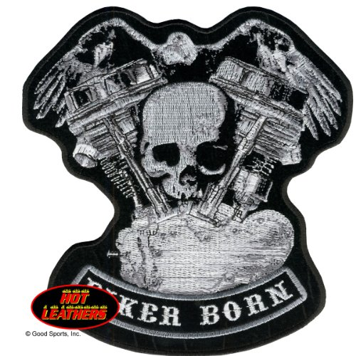 BIKER BORN EAGLE DISTRESSED SKULL & MOTOR, Iron-On / Saw-On