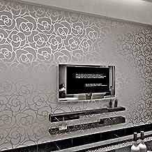 HANMERO® 10m Romántico Moderno Diseño Flores Rayas Papel Pintado Papel de Pared TV Telón de Fondo/ Dormitorio/ Hotel/Restaurante,Color Gris Plateado
