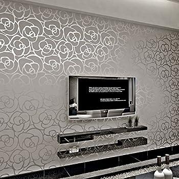 Hanmero non woven classic flocking plain stripe modern - Papel decorativo para pared ...