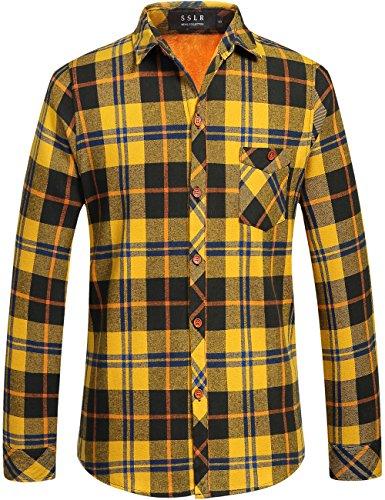 SSLR Herren Hemd Slim-Fit Flanellhemd Kariert Checked Langarm Gefüttert Baumwolle Holzfäller Hemden für Freizeit Business (X-Large, (Koreanische Tracht Für Männer)