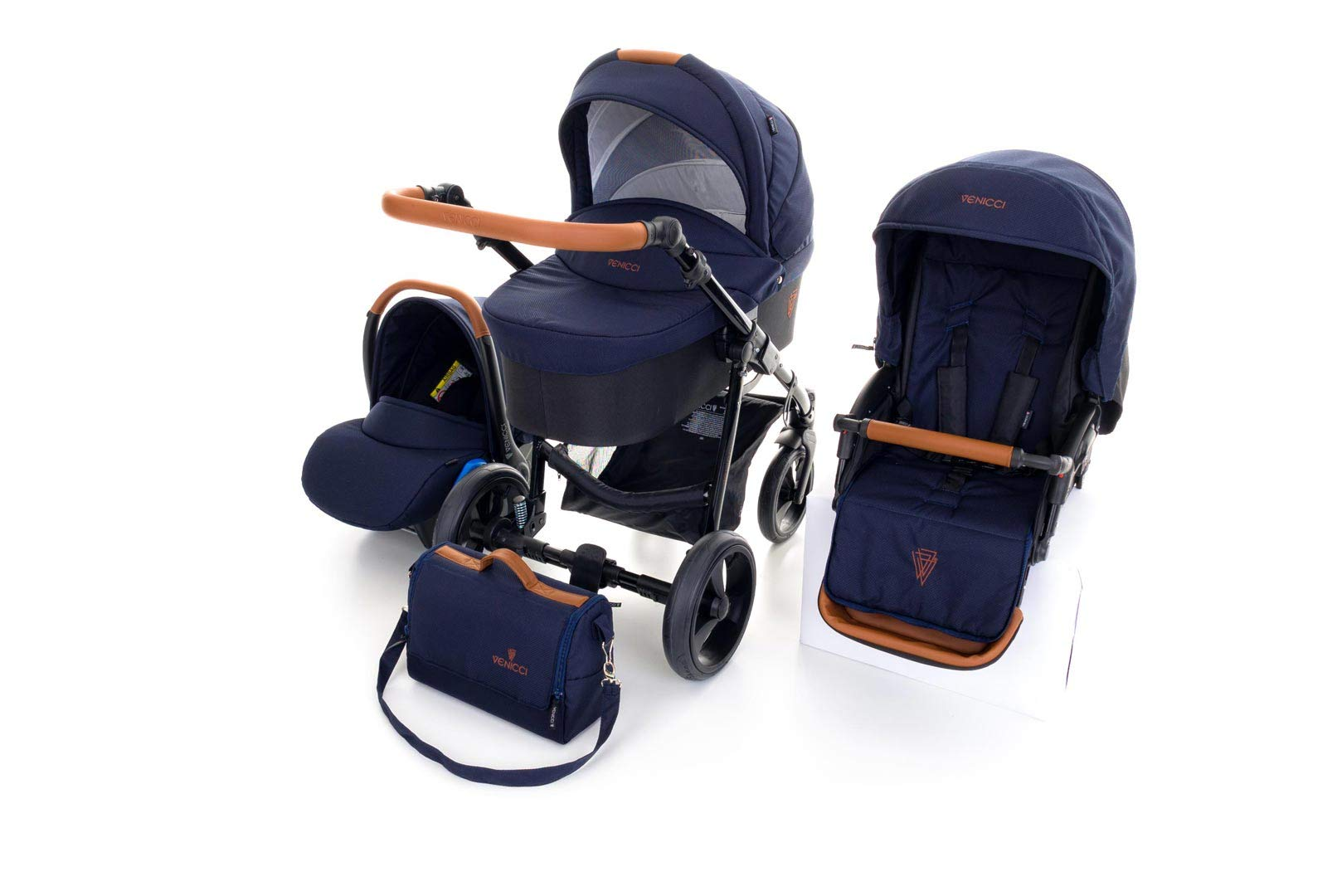 Venicci Gusto 3-in-1 Travel System - Navy - with Carrycot + Car Seat + Changing Bag + Footmuff + Raincover + Mosquito Net + 5-Point Harness and UV 50+ Fabric + Car Seat Adapters + Cup Holder  3 in 1 Travel System with included Group 0+ Car Seat Suitable for your baby from birth onwards 5-point harness to enhance the safety of your child 6