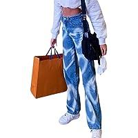 Frecoccialo Jeans Lunghi per Donna Alta Vita Jeans per Ragazza Tasche Laterali Strappati Pants Jeans Sfrangiati Larghi…