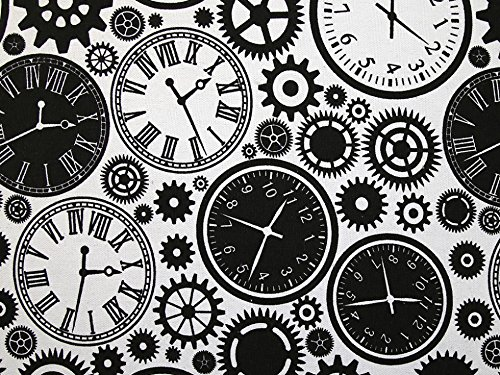 Minerva Crafts Stoff mit Uhrendruck, Baumwolle und Polyester, Schwarz/Weiß, Meterware