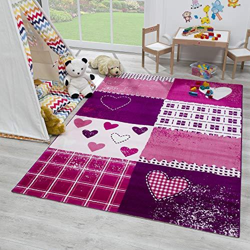 SANAT Teppich Kinderzimmer - Lila/Rosa Kinderteppich für Mädchen und Jungen Öko-Tex 100 Zertifiziert, Größe: 160x230cm