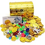 ALTINOVO Caja del Cofre del Tesoro de los Piratas con Monedas/Gemas de Oro Gratis, 5.5 * 3.9 * 4.3 Pulgadas / 14 * 10 * 11 cm,Gold