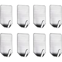 HASTHIP® Pack 8 Stainless Steel Adhesive Wall Hanger Self Adhesive Hooks Waterproof Heavy Duty Sticky Wall Hooks for…