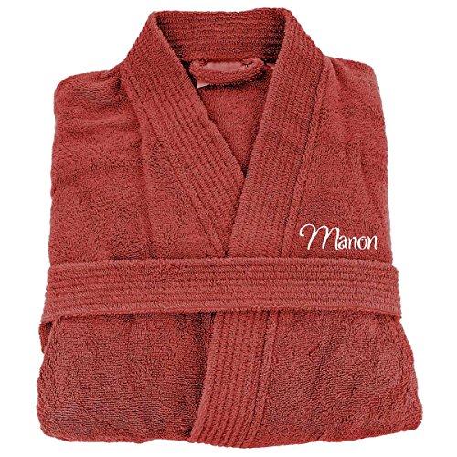 [PERSONNALISABLE] Peignoir de bain personnalisé adulte homme et femme 100% Coton - Marsala - Taille L - broderie gratuite dans toutes les langues - robe de chambre brodée