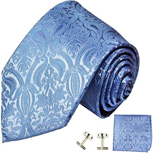 Cravate homme bleu uni paisley ensemble de cravate 3 Pièces ( longueur 165cm )