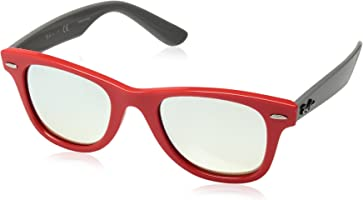 Ray-Ban Junior Unisex-Child Junior Wayfarer Non-polarized Iridium Square Sunglasses, CORAL, 47.0 mm